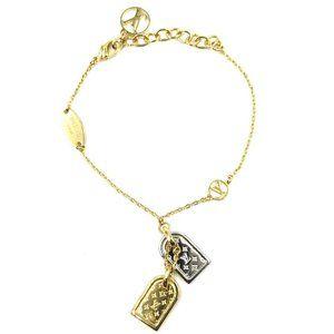 Louis Vuitton Gold Silver Chain Mono Tag Bracelet